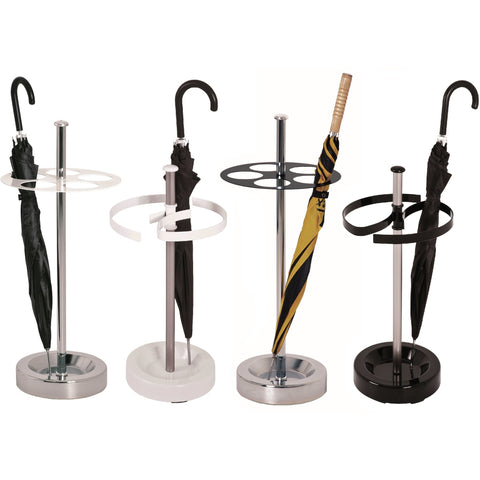 Modern Style Chrome Umbrella Stand w/ Black or White