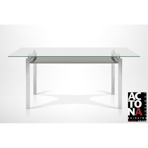 "*Clearance* Actona ""Calem"" Designer Clear Glass & Chrome Dining Table."