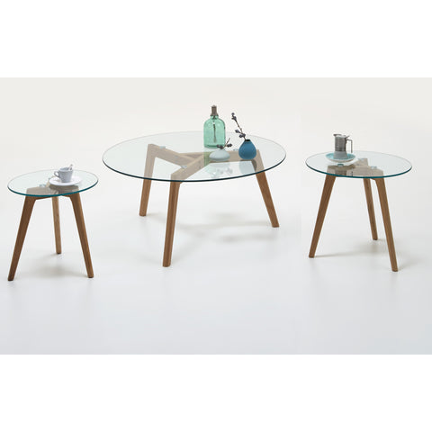 """California"" Scandinavian Style Coffee & End Table. Glass & Wood Tripod"