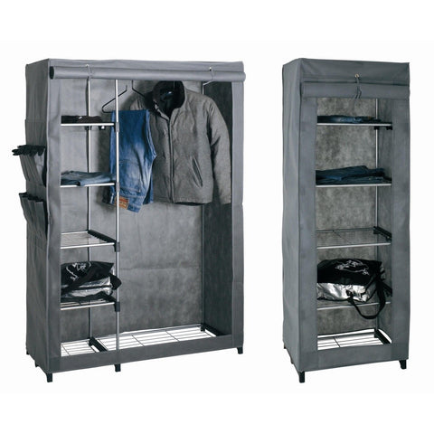 Military Style Chrome Tube & Canvas Wardrobe. Movable / Re-Packable., [product_variation] - Freedom Homestore