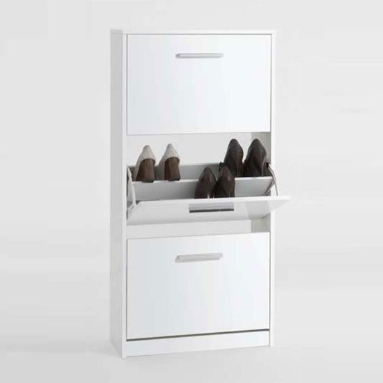 """Chic"" High Gloss White Shoe Storage Cabinet Solutions. Two Sizes., [product_variation] - Freedom Homestore"