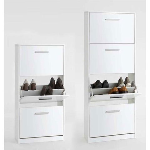 """Chic"" High Gloss White Shoe Storage Cabinet Solutions. Two Sizes."