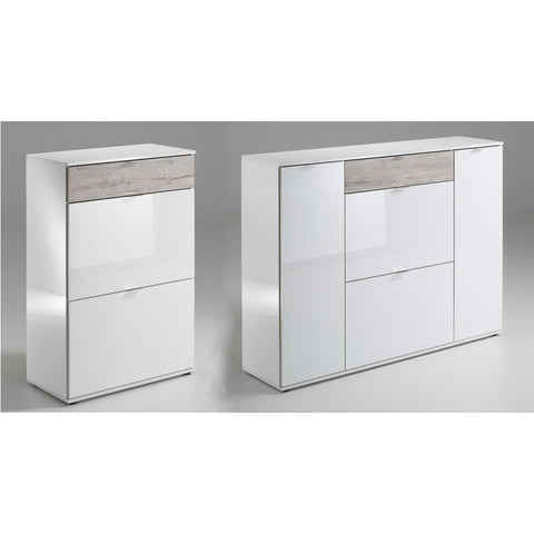 """Combi"" Range Shoe Cabinet / Sideboard / Dresser. High Gloss White w Oak Drawer."