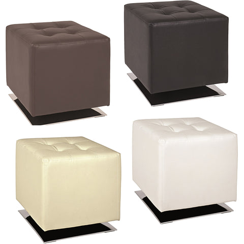 'Cube' Faux Leather Padded Footstool/Poof/Pouffe Ottoman.