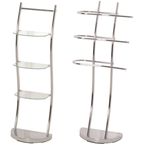 """Curvy"" Matching Chrome Bathroom Shelving Rack & Towel Rail."