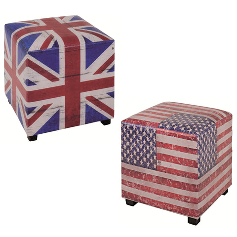 UK or US Flag Stool / Pouffe / Footrest. - Brittania. Star Spangled Banner.