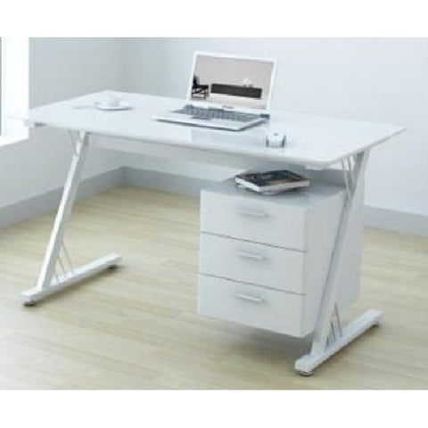 Bremen and Saxony Steel Framed Glass Desks in Black or White, [product_variation] - Freedom Homestore