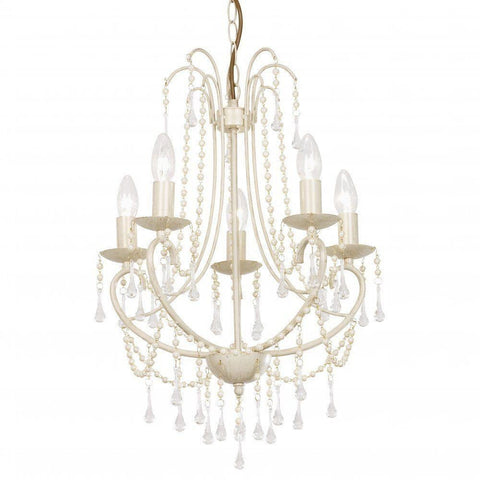 "Clearance - Endon ""Grace"" - Five Light Cream Gold Pearl & Glass Chandelier. GRACE-5CR"
