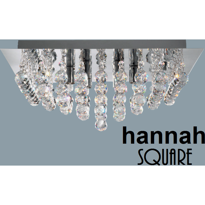 Marco Tielle 'Hannah Square' 4 Light Crystal Ceiling Chandelier, [product_variation] - Freedom Homestore
