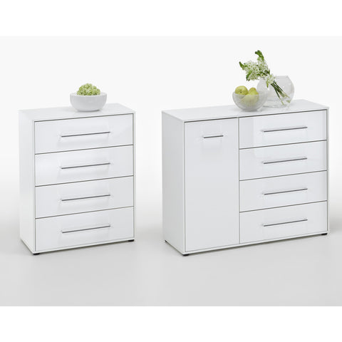 "ASSEMBLY INCLUDED ""Juli"" High Gloss White Minimalist Design Chest of Drawers / Sideboard Range, [product_variation] - Freedom Homestore"