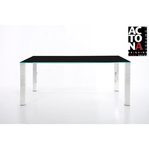 "*Clearance* Actona ""Kante"" Designer Black Glass & Chrome Dining Table."