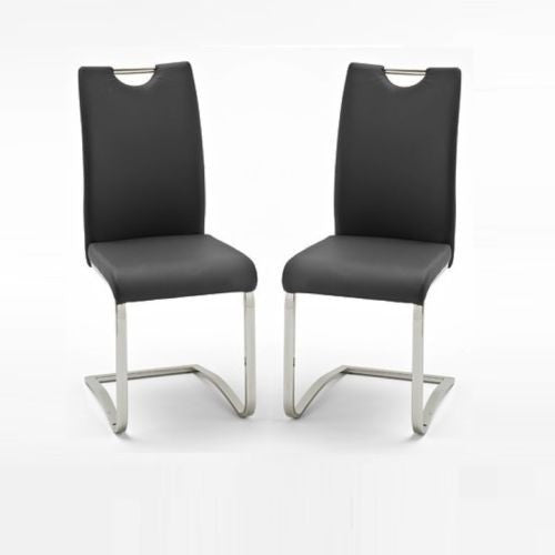 "*Set of 4* ""Koeln"" PU Leather & Chrome Swinging Dining Chairs., [product_variation] - Freedom Homestore"