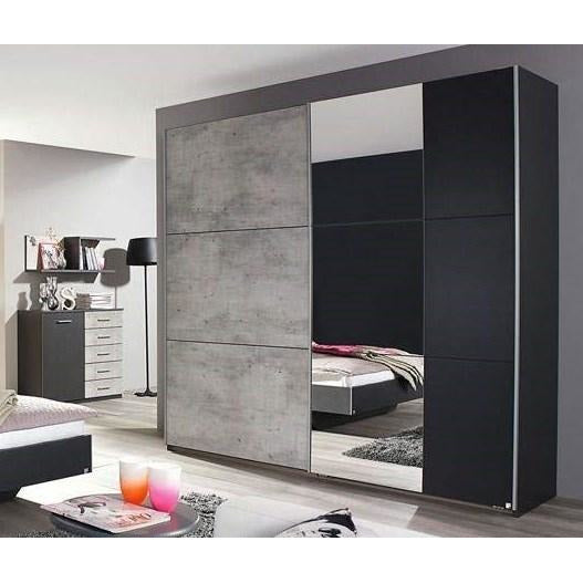 ASSEMBLY INCLUDED Rauch 'Lenny' Sliding Door Wardrobe, Concrete & Anth. German Bedroom Furniture., [product_variation] - Freedom Homestore