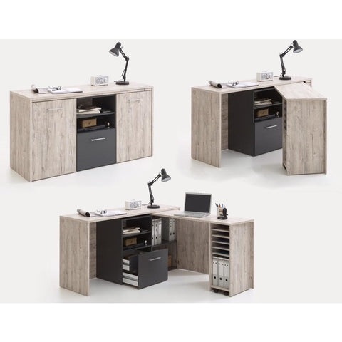 """Liam"" Unique Fold-Away Corner PC Desk & Sideboard + Storage. Genius Design!"