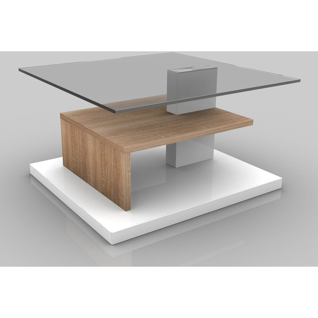 "MCA ""Lina-2"" High-Gloss White & Oak Designer Coffee Table With Shelves, [product_variation] - Freedom Homestore"
