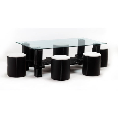 Luxor Faux Leather Chrome Glass Coffee Table With 6 Matching Faux Leather Stools, [product_variation] - Freedom Homestore