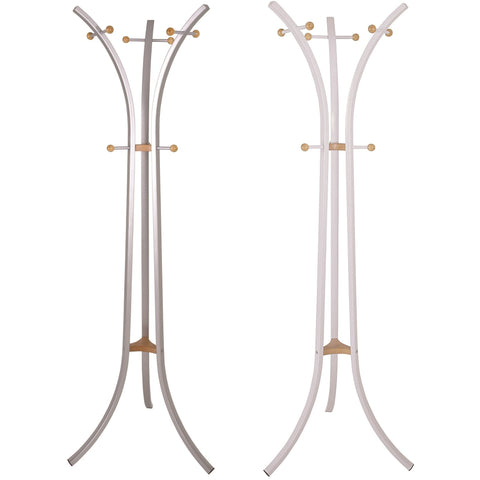 Modern Design Metal Coat Stand & Solid Wood Trim in White or Silver