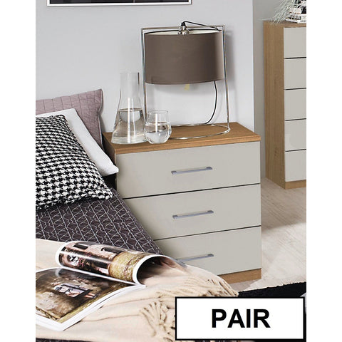 Rauch 'Morella' Range German Made Bedroom Furniture. Riviera Oak & Gloss Grey, [product_variation] - Freedom Homestore