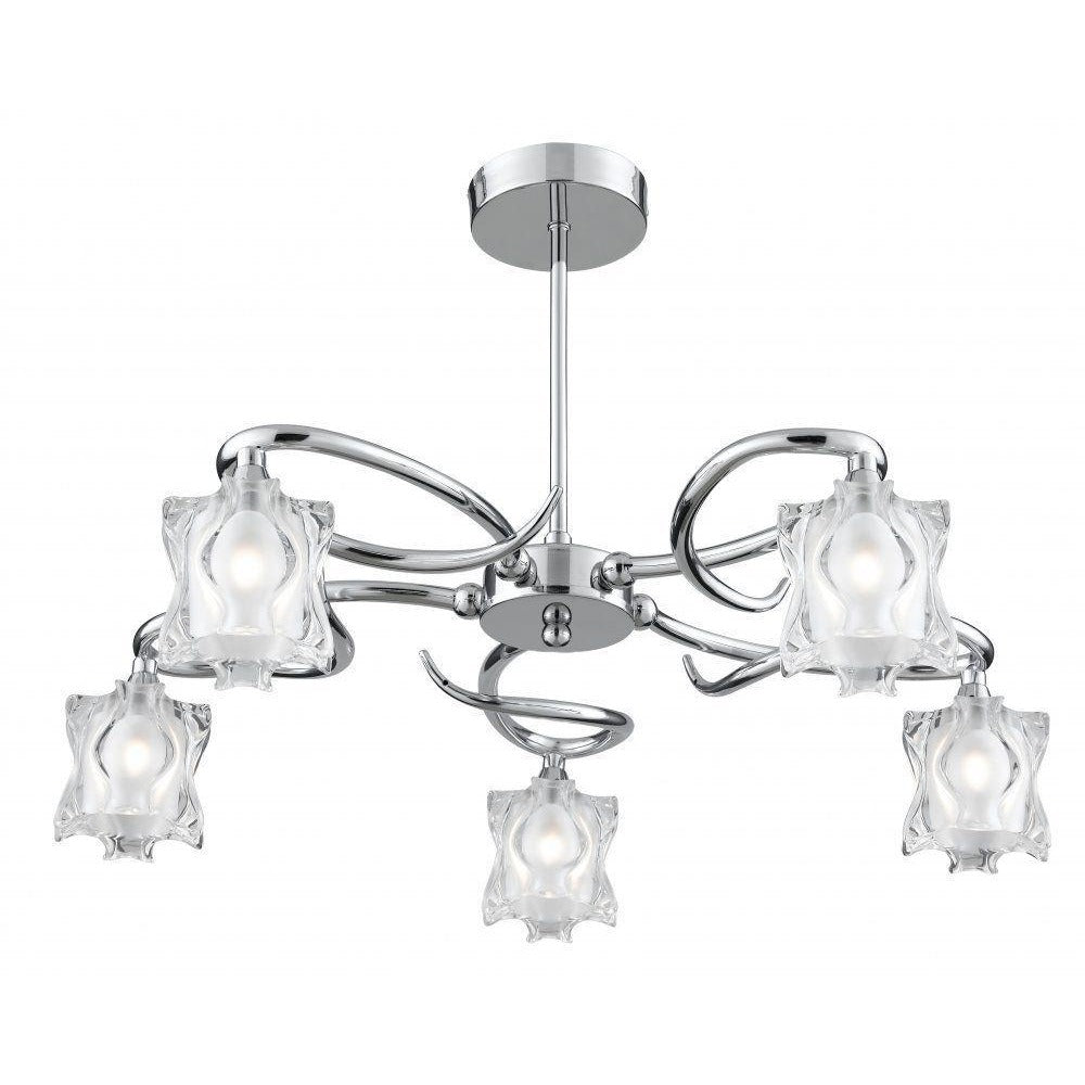 Searchlight 'Murano' 3285-5cc. 5 Light Frosted Glass Ceiling Chandelier., [product_variation] - Freedom Homestore
