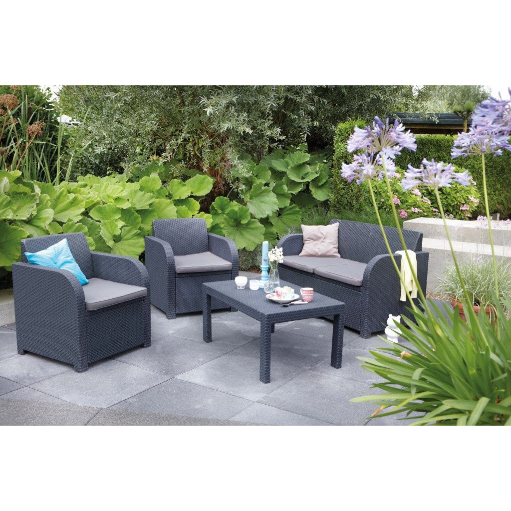 Allibert 'Oklahoma' Rattan Garden/Patio Outdoor Furniture. Sofa Table & 2 Chairs, [product_variation] - Freedom Homestore