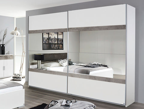 Rauch 'Penzberg' 270cm Sliding-Door Wardrobe. German Bedroom Furniture. White