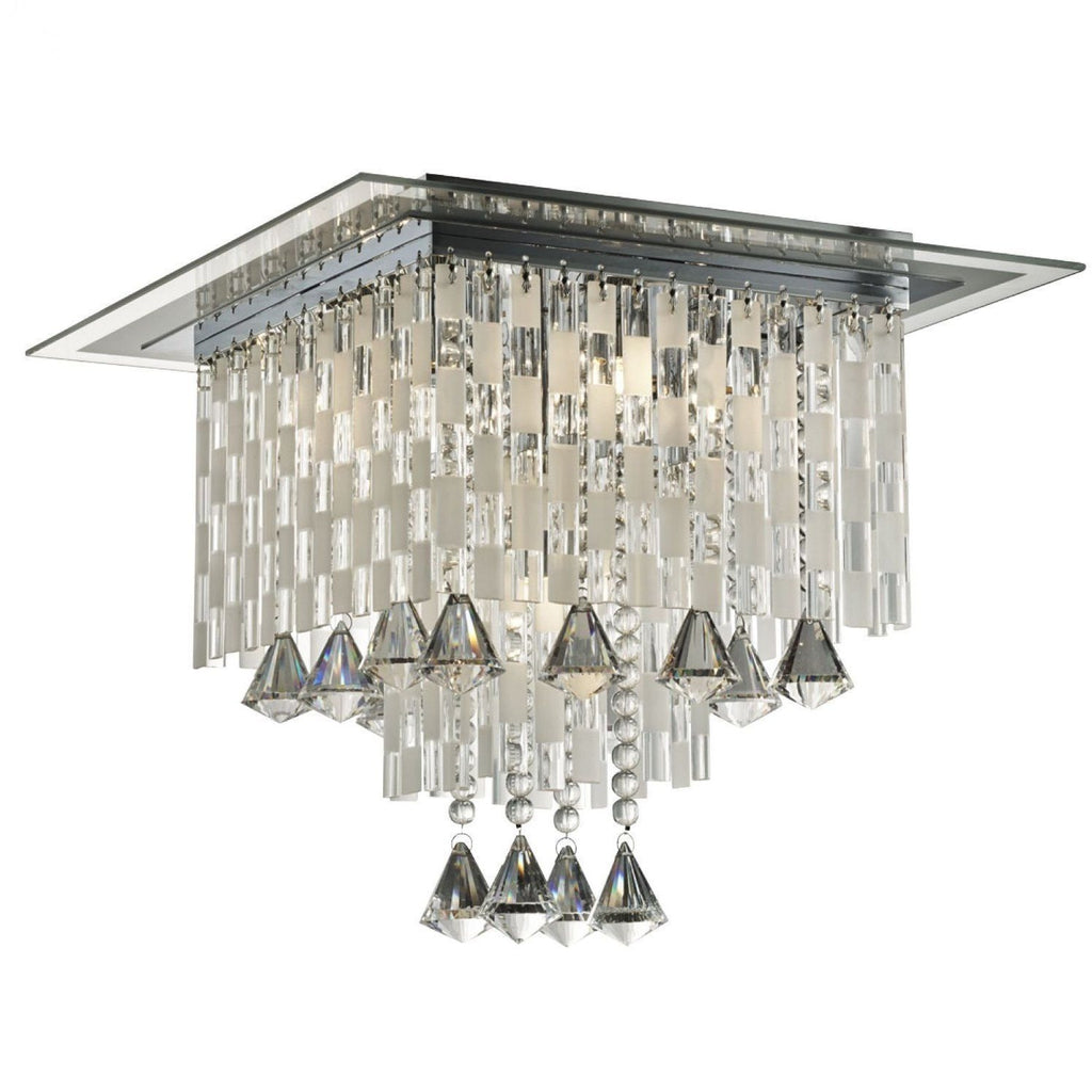 *CLEARANCE* Searchlight 51412-12cc 'Rados' Crystal Semi Flush Ceiling Light, [product_variation] - Freedom Homestore