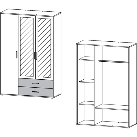 Rauch 'Rasant' 3 or 4 Door Wardrobe, White & Anth. German Bedroom Furniture., [product_variation] - Freedom Homestore