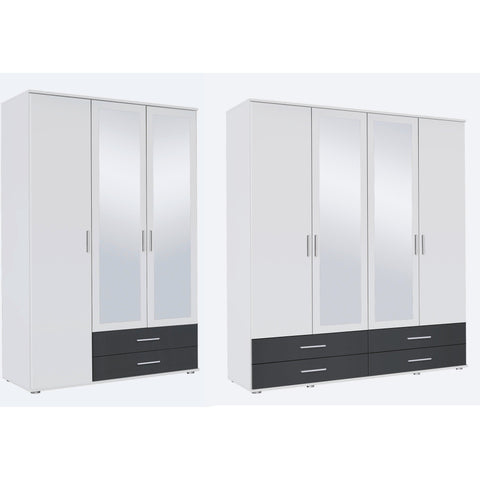 Rauch 'Rasant' 3 or 4 Door Wardrobe, White & Anth. German Bedroom Furniture.