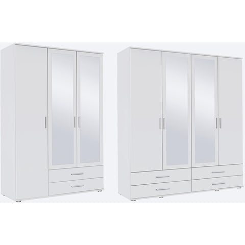 Rauch 'Rasant' 3 or 4 Door Wardrobe, White. German Bedroom Furniture.