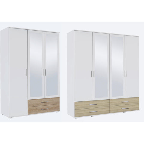 Rauch 'Rasant' 3 or 4 Door Wardrobe, White & Oak. German Bedroom Furniture.