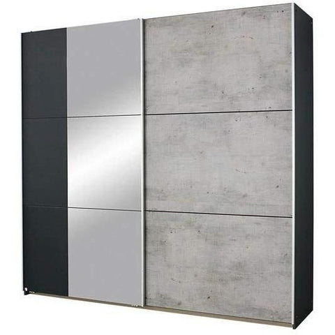 Rauch 'Lenny' Sliding Door Wardrobe, Concrete & Anth. German Bedroom Furniture., [product_variation] - Freedom Homestore