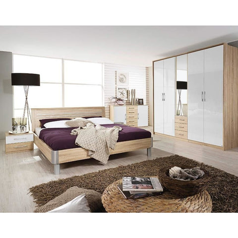 Rauch 'Lyon' Range German Made Bedroom Furniture. Oak & HighGloss White