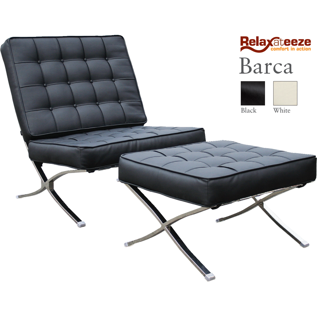 Relaxateeze Luxury Barca Chair & Stool Leather & Chrome Black or White