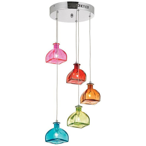 "Endon ""Sarandon"" Range. Quirky Coloured Glass Jar Chandelier Ceiling Pendant Light., [product_variation] - Freedom Homestore"