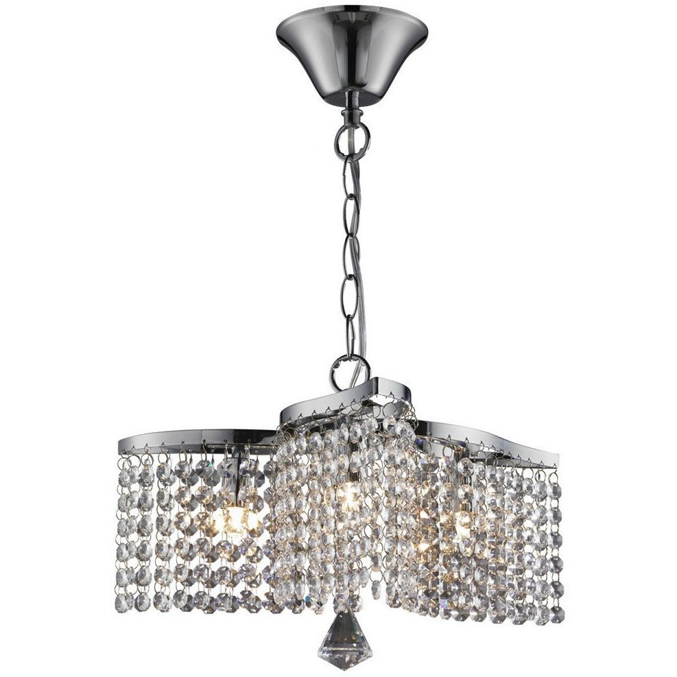 Searchlight Medina 7973-3CC Chrome & Crystal Ceiling Light Chandelier Pendant, [product_variation] - Freedom Homestore