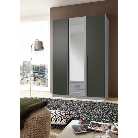 Qmax 'Skate' Mirror Wardrobe. German Made Bedroom Furniture. Grey & Graphite, [product_variation] - Freedom Homestore