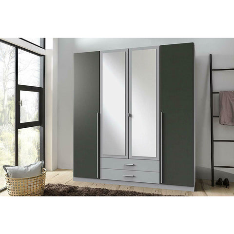 ASSEMBLY INCLUDED Qmax 'Skate' Mirror Wardrobe. German Bedroom Furniture. Grey & Graphite