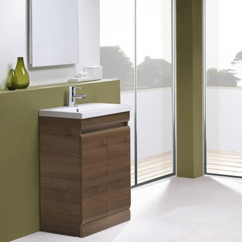 *Clearance* Tavistock 'Groove' Bathroom Vanity Unit With Sink, Walnut, Wall or Floor, [product_variation] - Freedom Homestore