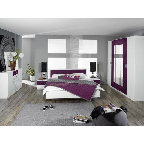 Rauch 'Trevi' Range German Made Bedroom Furniture. White & Blackberry (purple)