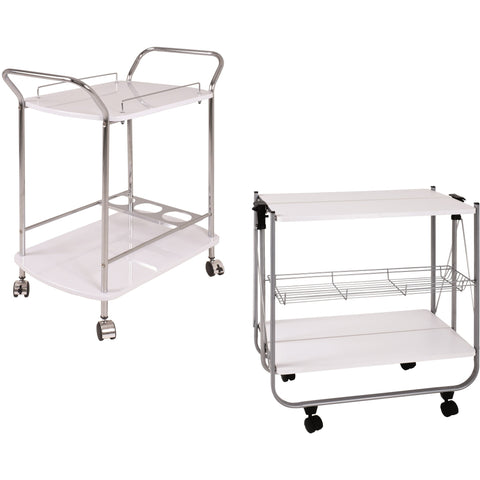 Hostess Kitchen Serving/Dining Trolley Range. Chrome/Alu & White, [product_variation] - Freedom Homestore