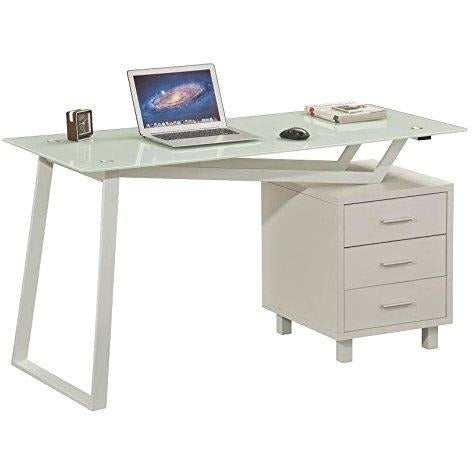 White Tempered Glass & Matt White Finished Computer Office Desk