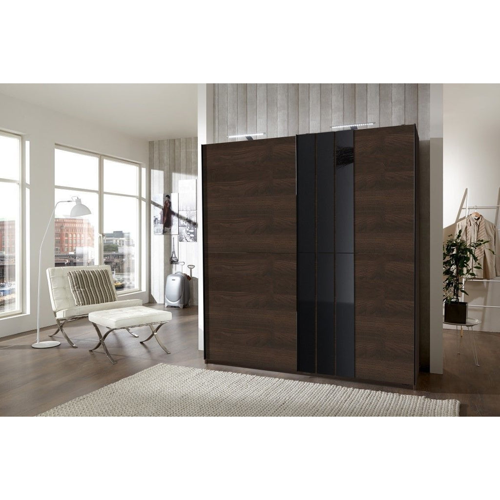 ASSEMBLY INCLUDED Qmax 'Cologne' 180cm Sliding Door Wardrobe - German Bedroom Furniture. Walnut, [product_variation] - Freedom Homestore
