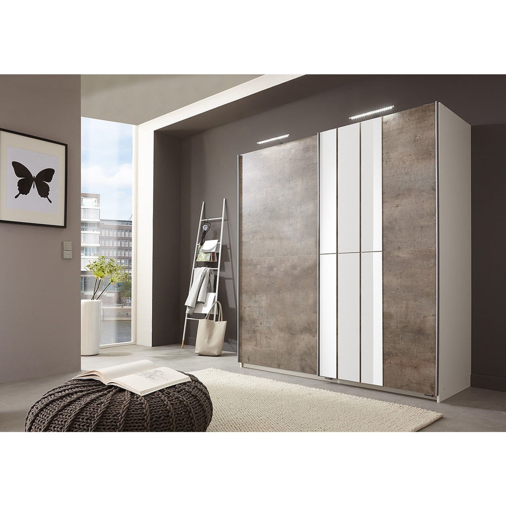 ASSEMBLY INCLUDED Qmax 'Cologne' 180cm Sliding Door Wardrobe - German Bedroom Furniture. Concrete, [product_variation] - Freedom Homestore