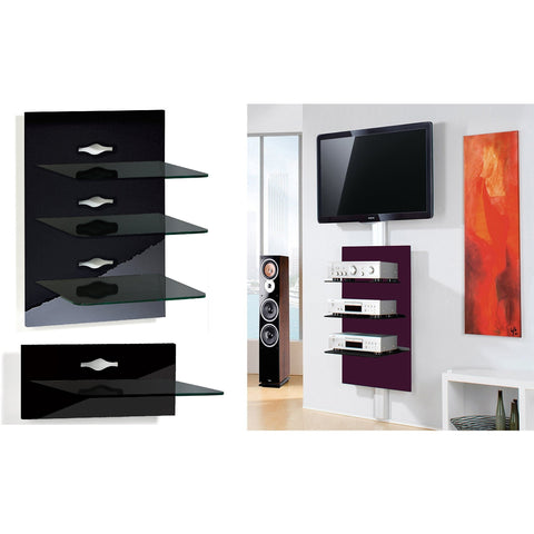 "VCM ""Xeno"" Wall Mounted TV Furniture Media Shelf. Black Gloss 1 or 3 Tier."