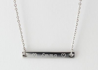 Ladies Stainless Steel Bar Necklace, FREE ENGRAVING, Personalised, Gift Boxed - Bluerock Bay®