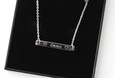 Ladies Stainless Steel Bar Necklace, FREE ENGRAVING, Personalised, Gift Boxed