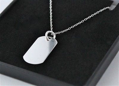 MENS 925 STERLING SILVER DOG TAG WITH FREE PERSONALISED ENGRAVING & GIFT BOX - Bluerock Bay®