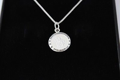 BOYS 925 STERLING SILVER SAINT CHRISTOPHER NECKLACE PERSONALISED ENGRAVED, GIFT BOX