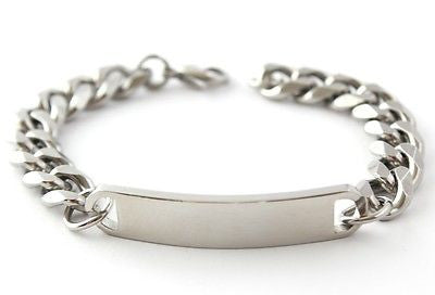 BOSTON MENS STAINLESS STEEL LINK IDENTITY BRACELET ENGRAVED PERSONALISED & BOX