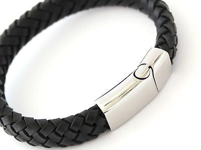 MILAN Black Leather & Stainless Steel Mens Personalised Bracelet Engraved Gift